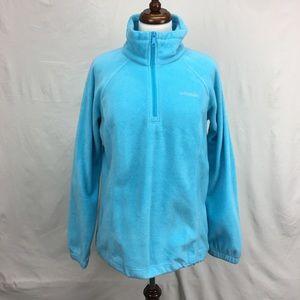 Columbia Blue Quarter Zip Fleece Sweater